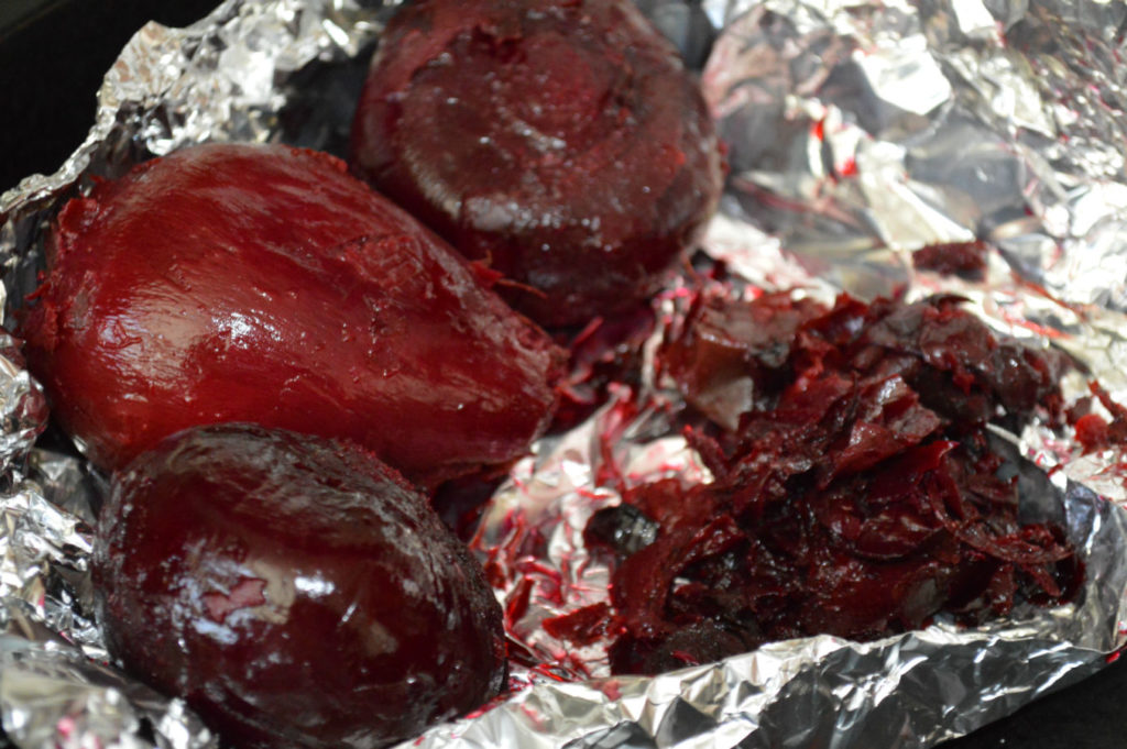 Beetroots roasted in foil