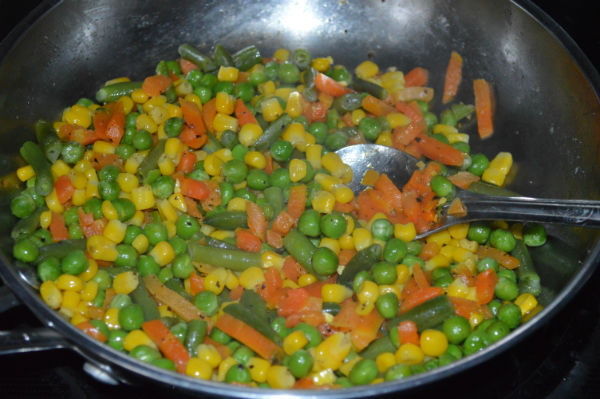 Saute mixed veggies