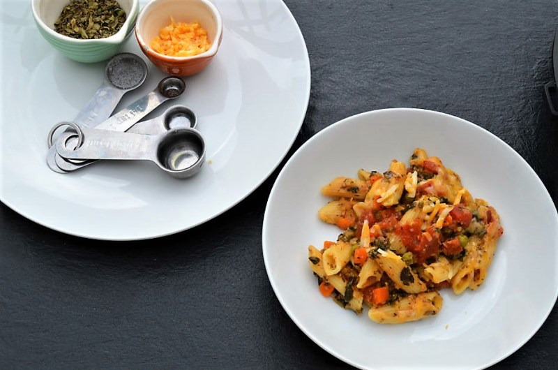 penne pasta loaded with red lentils and veggies instant