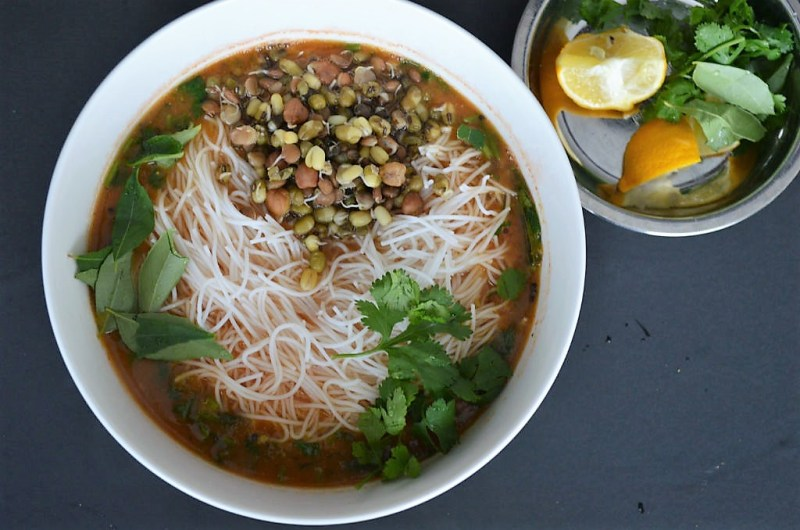 Rasam Pho (A South Indian Rice Noodle  Soup)