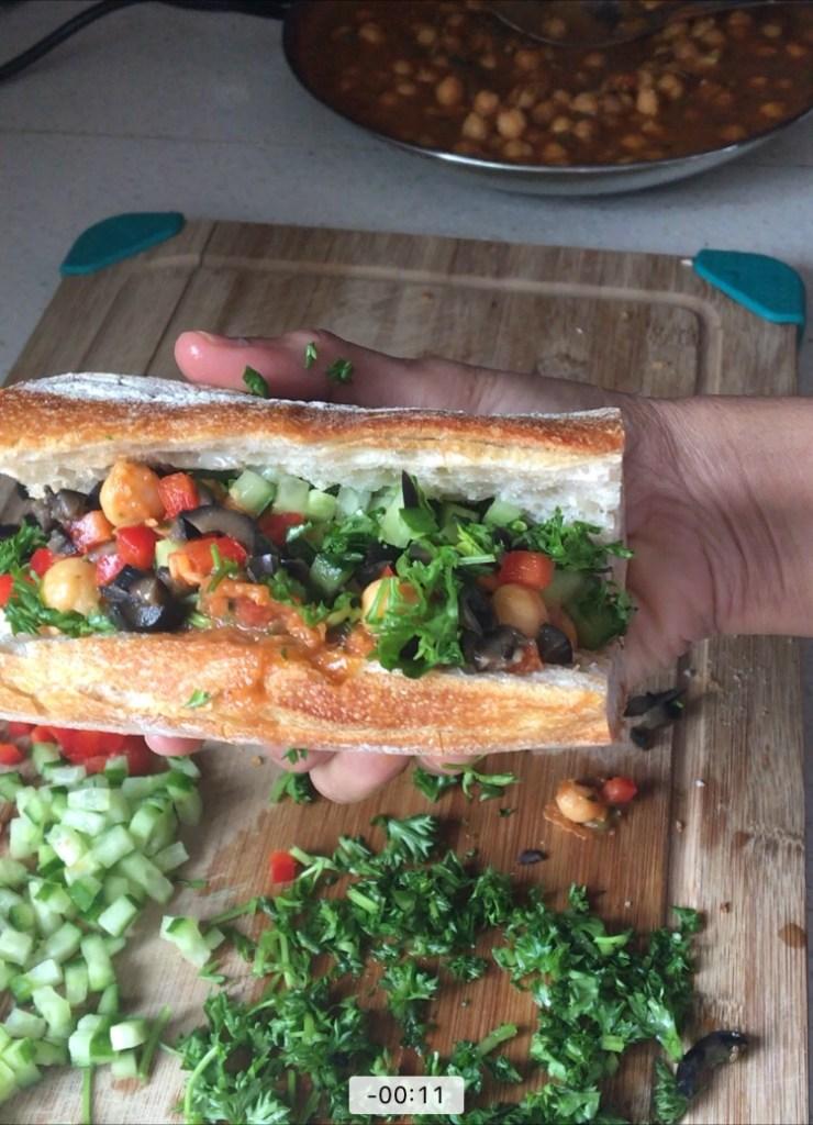 Chickpea marinara sandwich on Italian bread