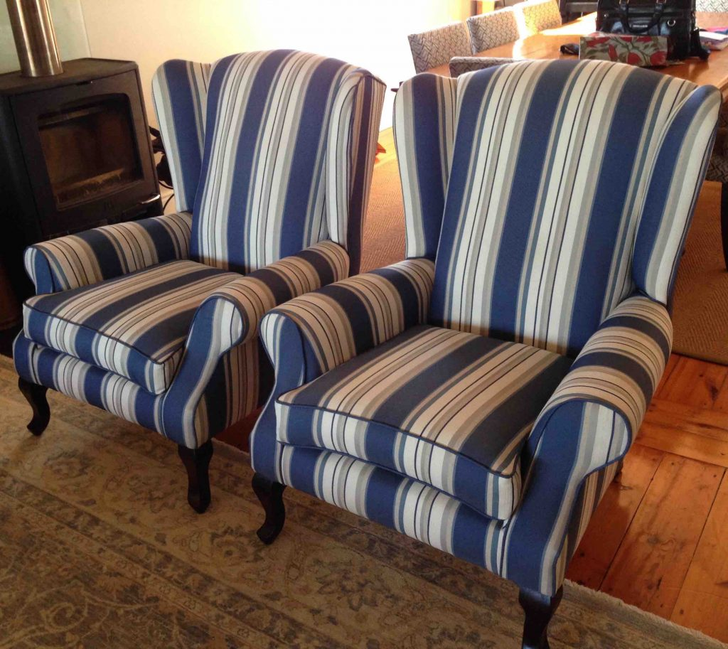 wingback rocking chair cape town tufted leather chairs fabric blue stripes upholstery