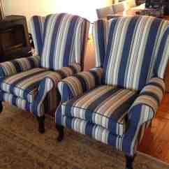 Leather Wingback Chairs South Africa Wing Chair Uk Fabric Blue Stripes Upholstery Cape Town