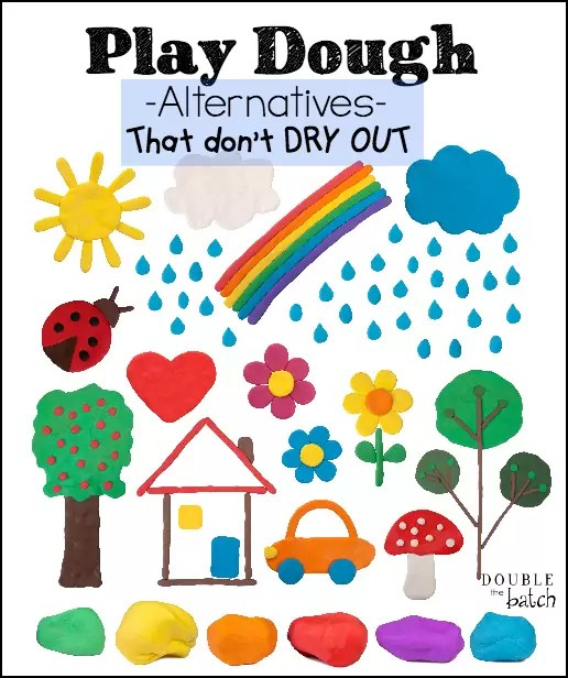 Great options if you are looking for something other than play dough that can be left out and not harden!