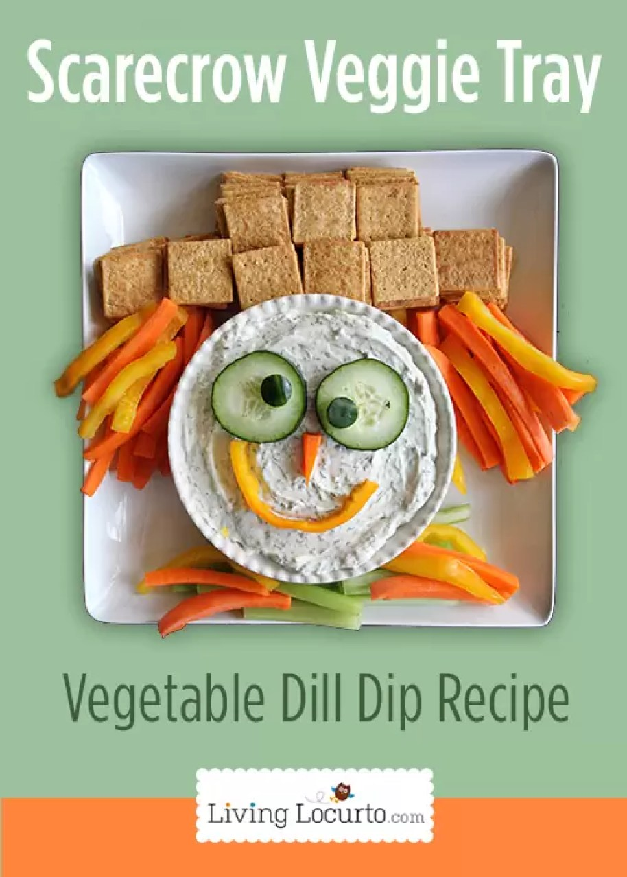 Scarecrow Veggie Tray and Dill Dip by Living Locurto