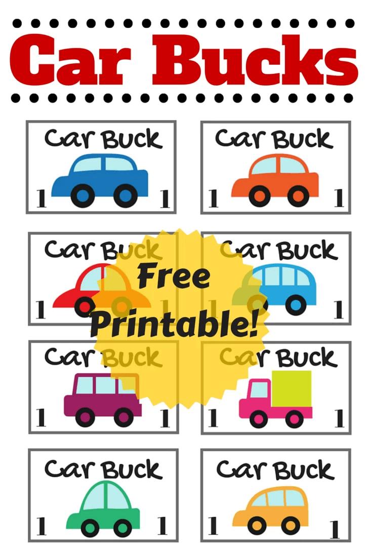 Car Bucks Printable For Kids