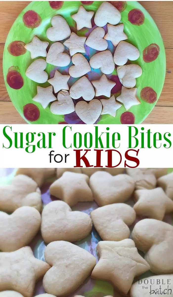 These sugar cookie bites are perfect to bag for a neighbor gift, or for a fun Christmas snack! No frosting or decorating necessary!