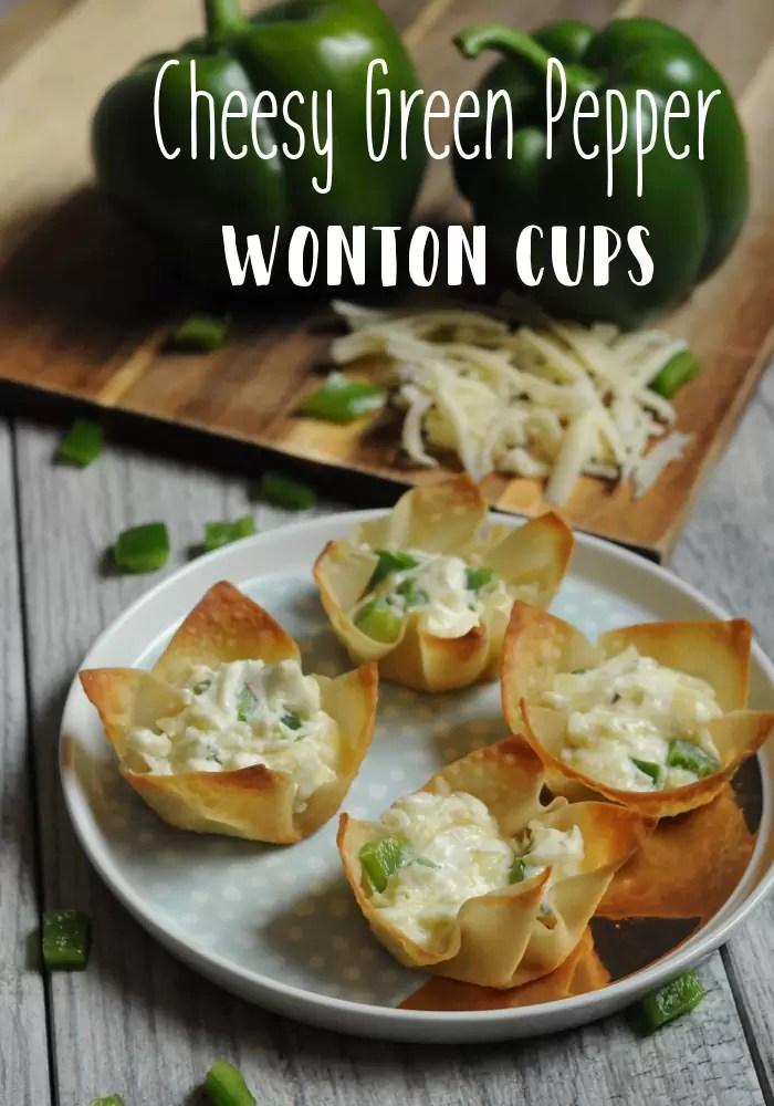 Cheesy Green Pepper Wonton Cups