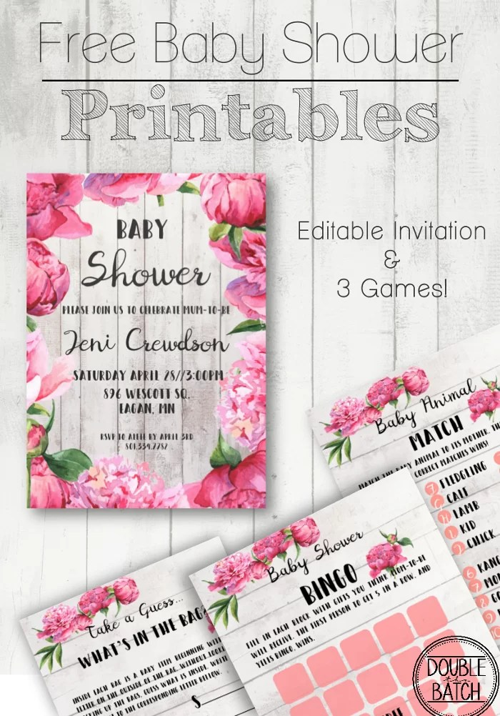 Free baby shower printables. Include an editable invitation and 3 great party games. Make hosting a baby shower easy and beautiful!