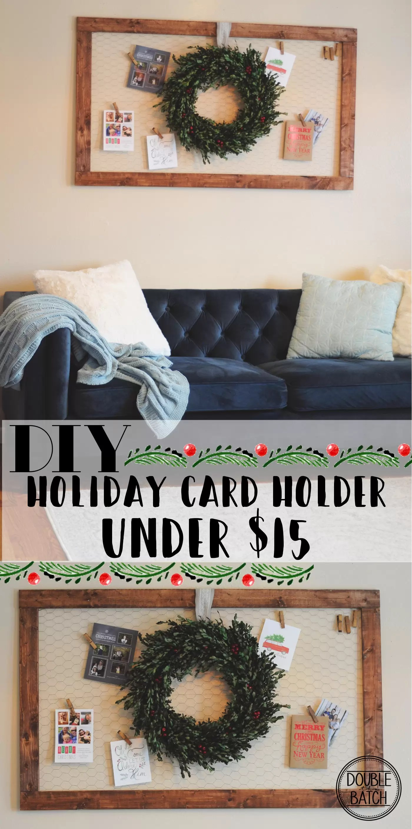 DIY  Create This Holiday Card Holder For Under $15. Using Chicken Wire And  Stained