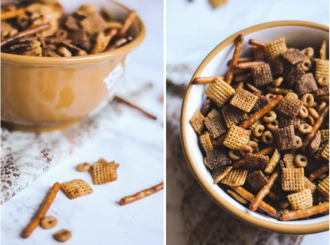 You can never go wrong with a recipe handed down from Grandma. This festive Chex mix recipe is a perfect rich and salty snack to share with the whole family this Christmas season.