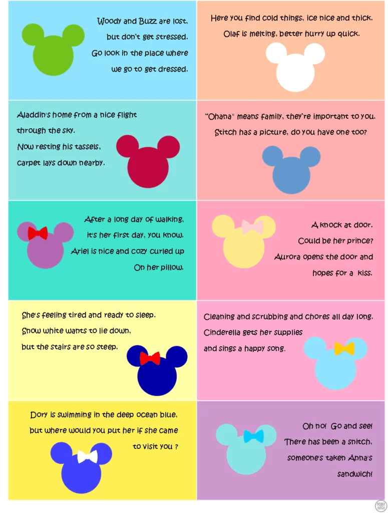 Disney Scavenger Hunt - Clues 1