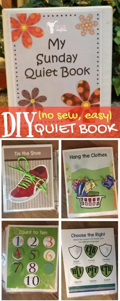 DIY (no sew, easy) Quiet Book FREE PRINTABLE