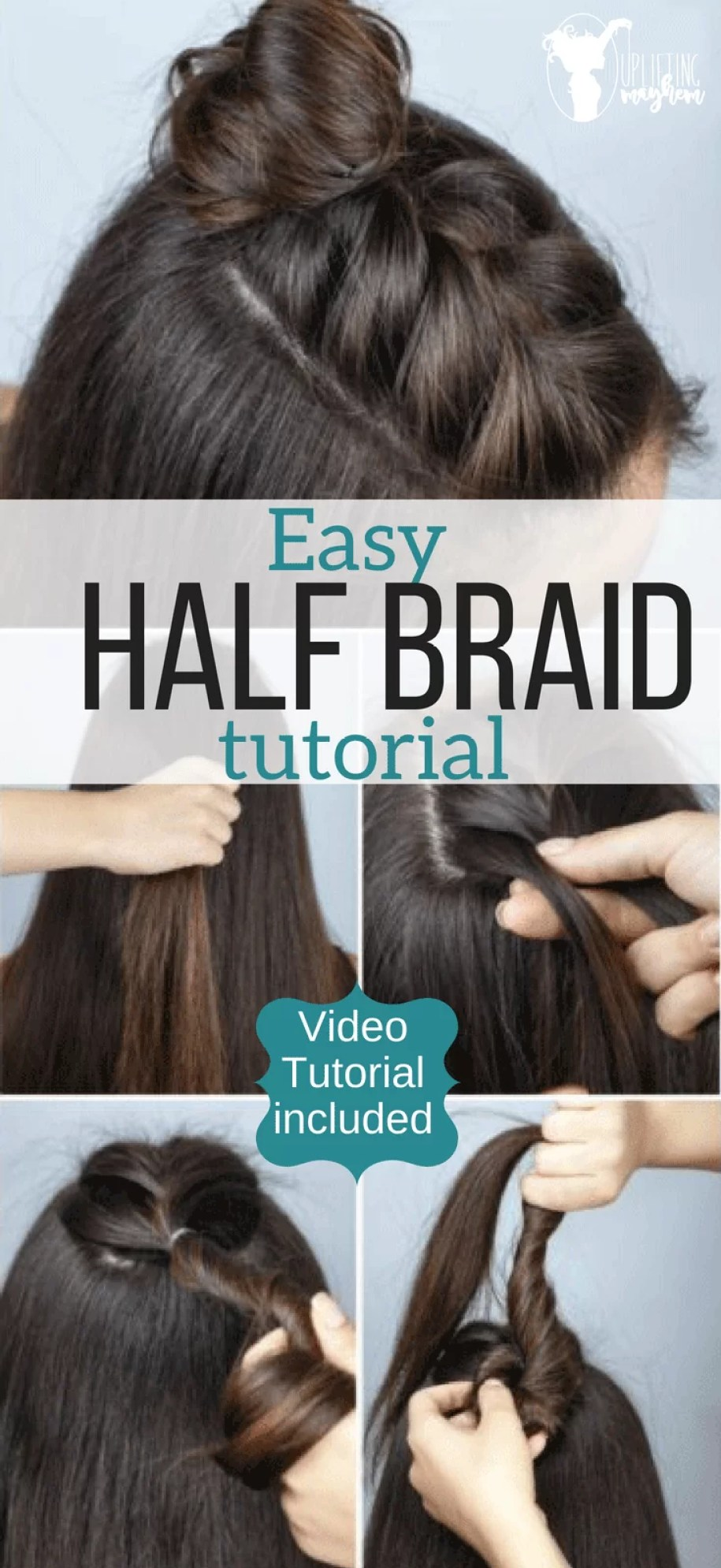 Adorable half braid tutorial. Freshen up you hairstyle with this easy updo that is super cute! Video tutorial included.