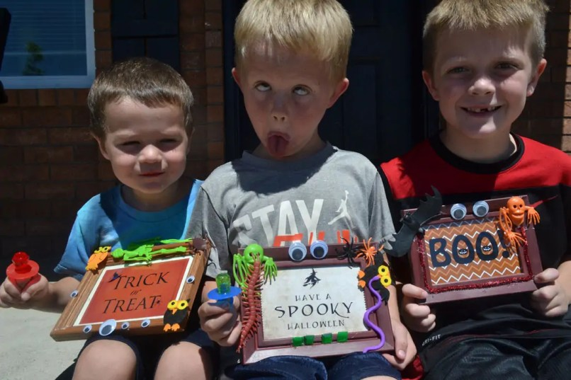 Boys, Halloween, frames, decorations