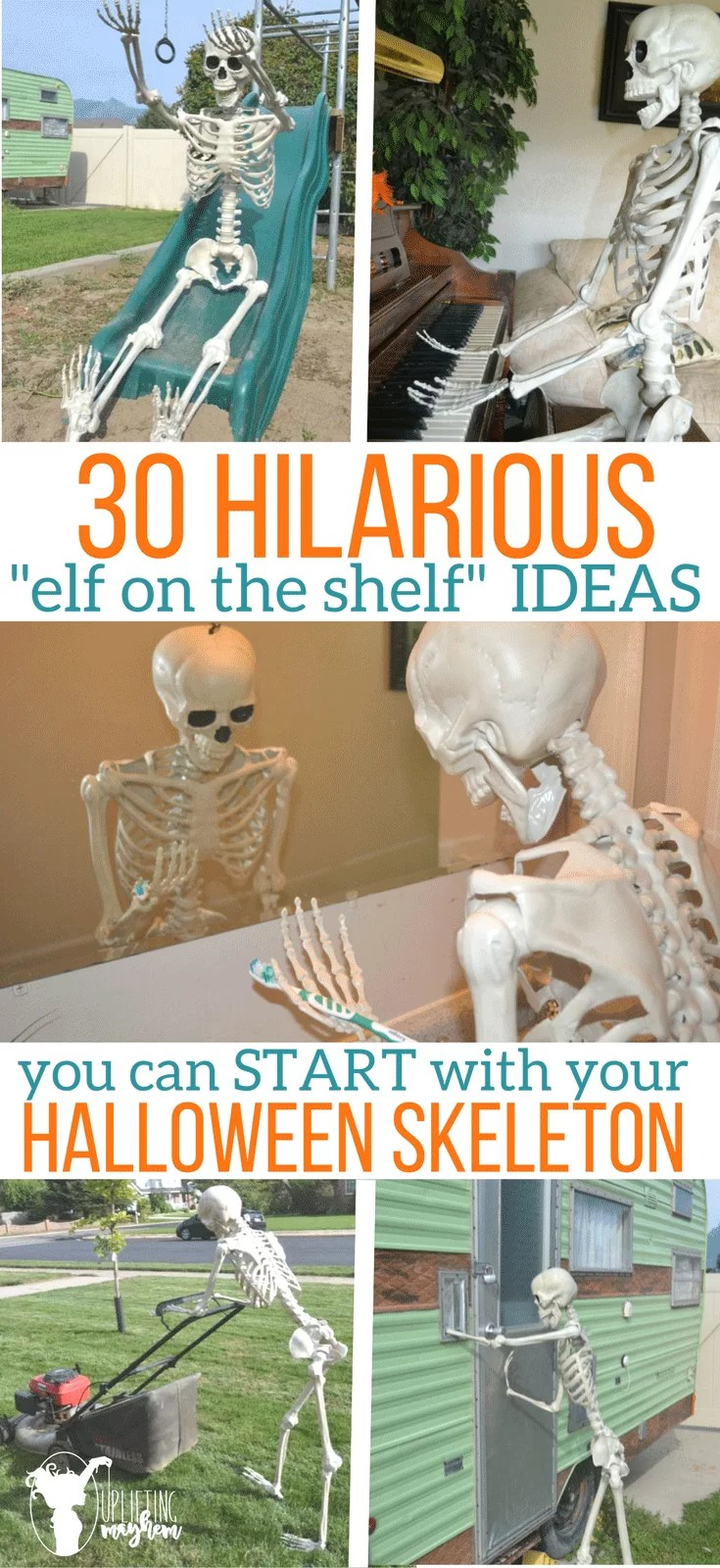 30 hilarious elf on the shelf ideas for your halloween skeleton uplifting mayhem. Black Bedroom Furniture Sets. Home Design Ideas