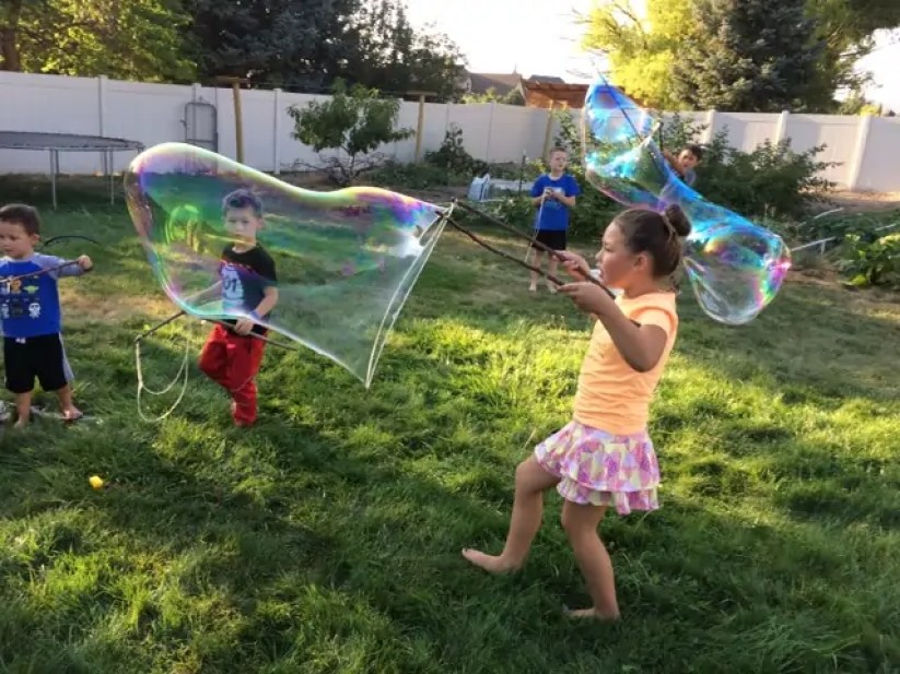 bubbles, bubble wands, kids, backyard