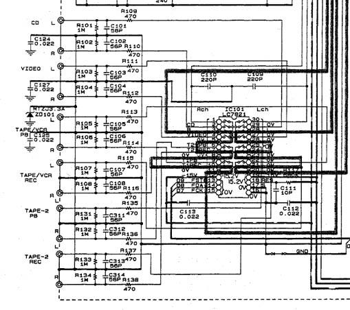 Phono amp met DC in de audio uitgang aansluiten op