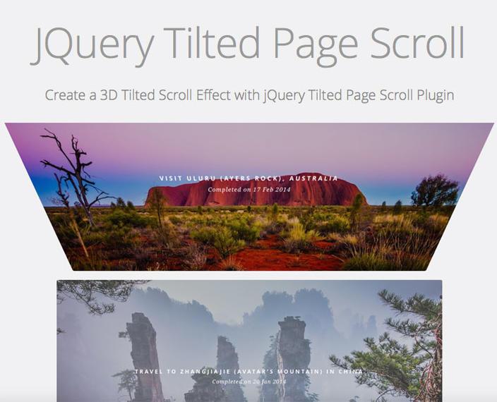 7 – JQuery Tilted Page Scroll - Os 15 melhores Plugins jQuery para criar efeito Scroll Animado com CSS