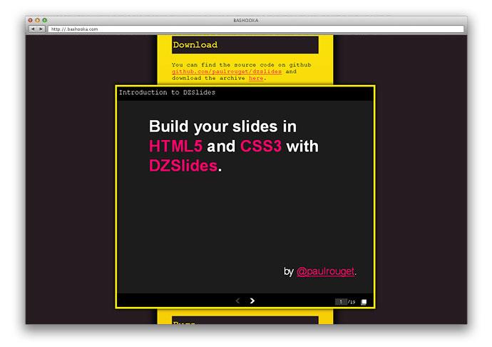 dzslide 9 - Lista Top 10 com plugins para criar fantásticas apresentações utilizando apenas HTML 5 e CSS