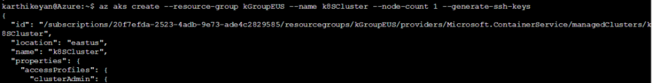 JSON-formatted output about the cluster