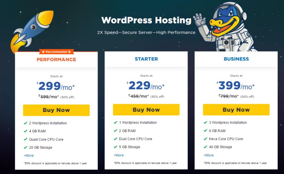 HostGator WordPress Plans
