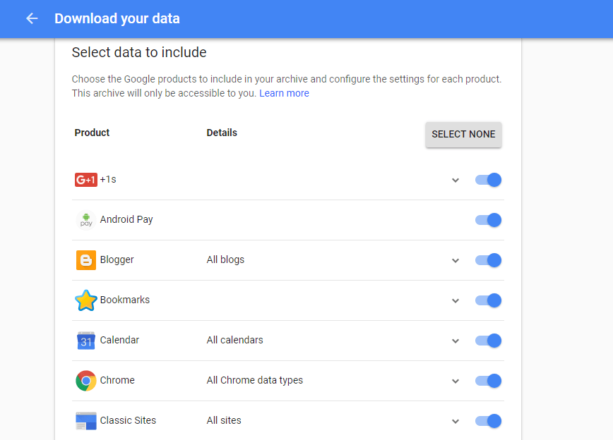 Google Takeout to download your data