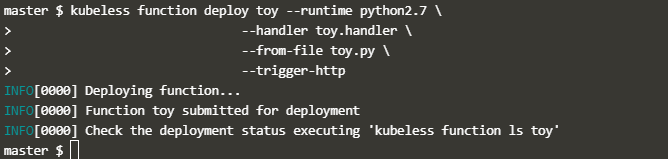 Deploy kubeless function