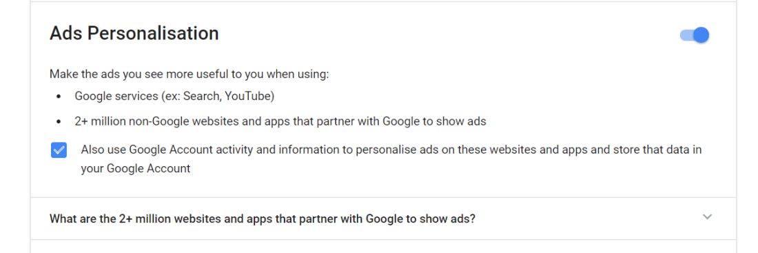 Turn off Google Ads Personalisation