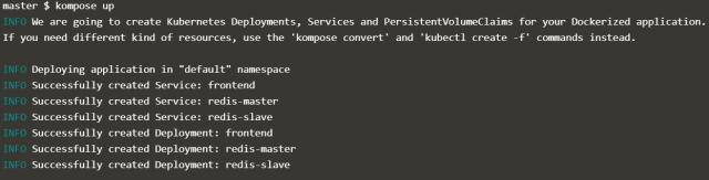You can convert and deploy directly to Kubernetes with kompose up.