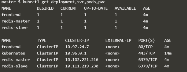 Run kubectl to check the deployments