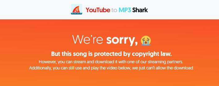 YoutubeToMP3shark blocks copyrighted content