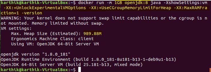 OpenJDK8 Docker Memory Limits