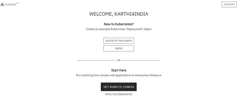 KubeSail Account Page