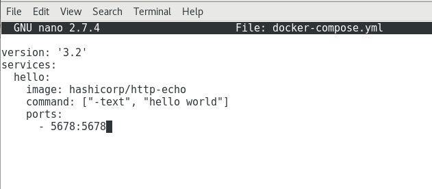 Hello World Docker compose File