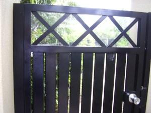 Aluminium swing gate criss cross