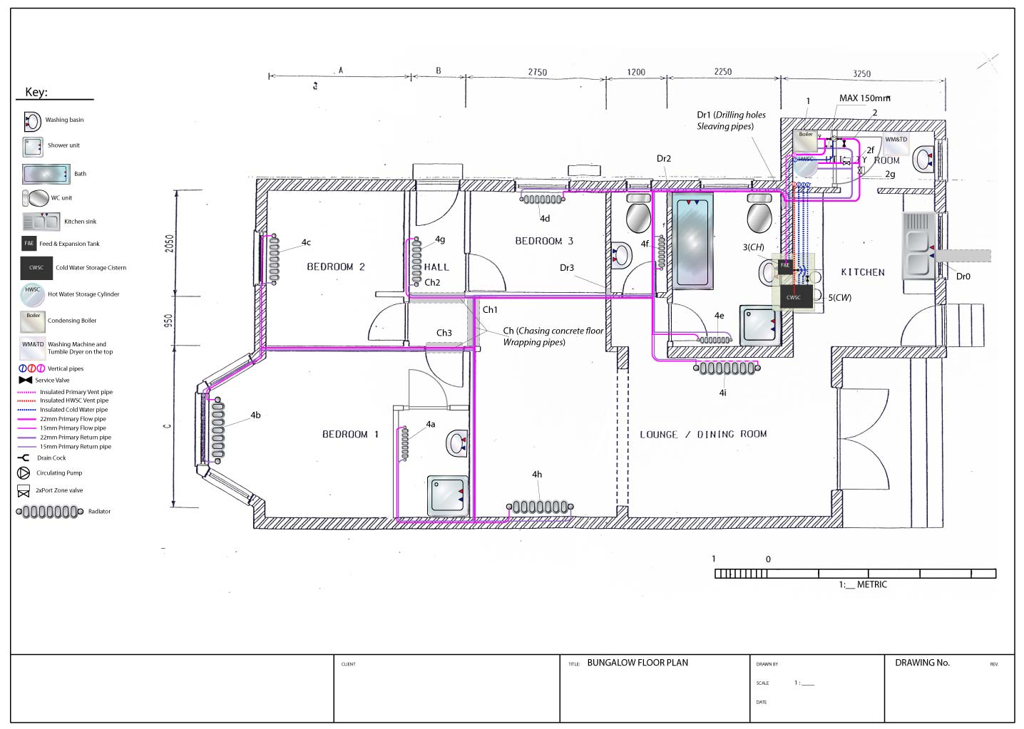 hight resolution of central heating system plan