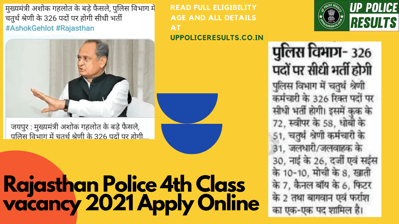 Rajasthan Police 4th class Vacancy