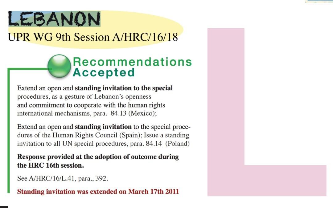 توصيات الاستعراض الدوري الشامل للحكومة اللبنانية المتعلقة بالإجراءات الخاصة