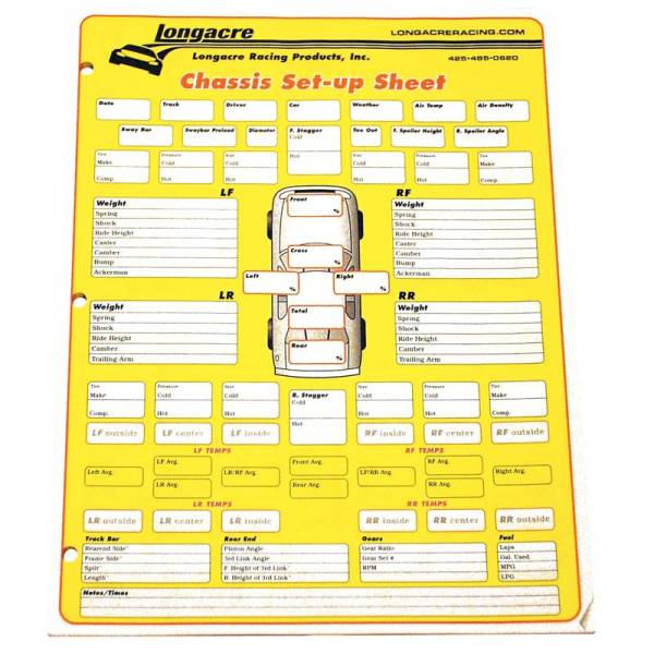 Race Car Setup Sheets - Year of Clean Water