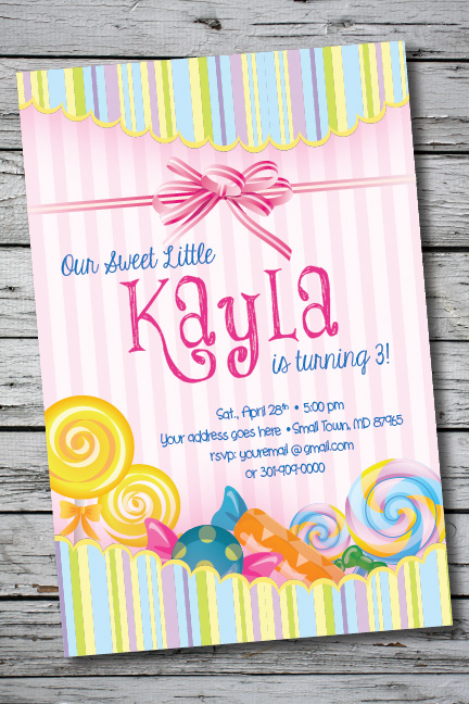 Details About Candy Land Sweets Printable Birthday Party Invitation 1st Baby Shower Wedding