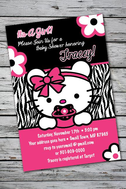 Details About Teddy Zebra Print Printable Baby Shower Party Invitation 1st Birthday Kitty