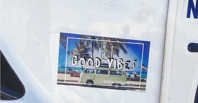 Good Vibes Volkswagon Bus Sticker