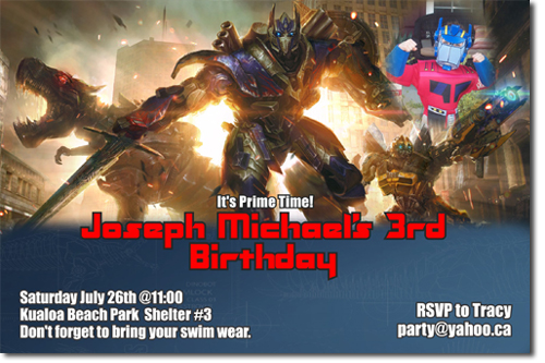 optimus prime birthday invitations