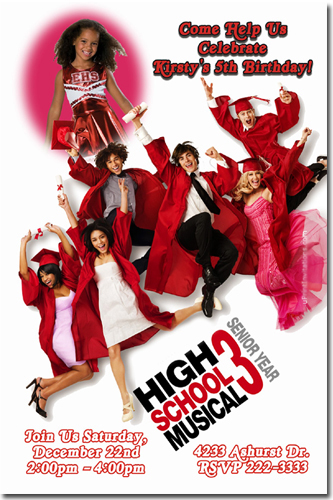 High School Musical 3 Birthday Invitations Candy Wrappers