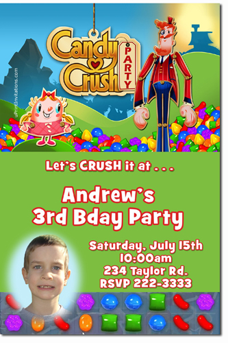 Candy Land Birthday Invitations Candyland and Candy Crush
