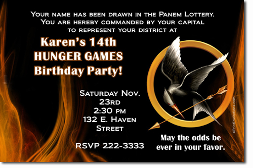 Hunger Games Birthday Invitations Candy Wrappers Thank