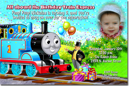 tank engine birthday invitations