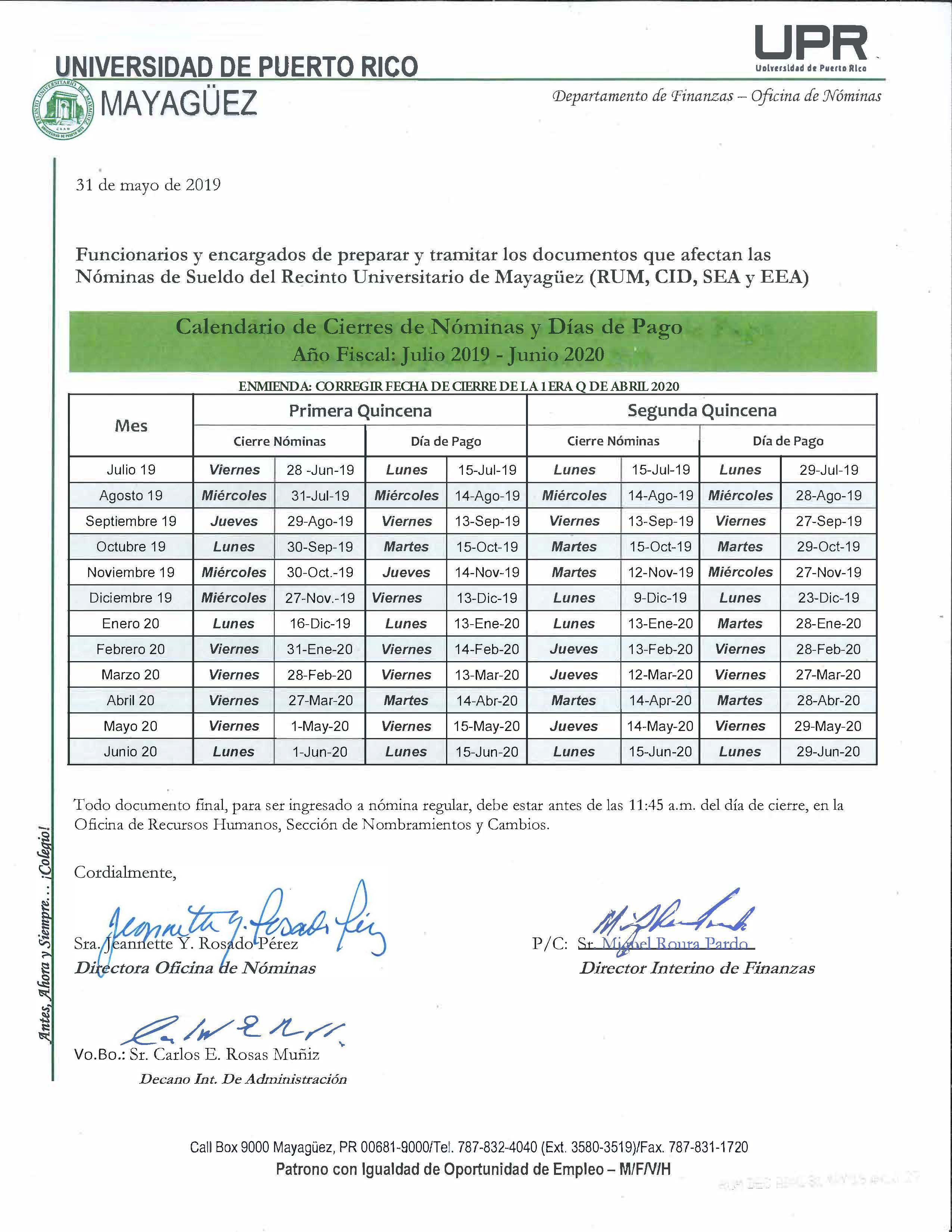 Calendario Junio Julio 2020.Calendario Cierre De Nominas 2019 2020 Decanato De Administracion