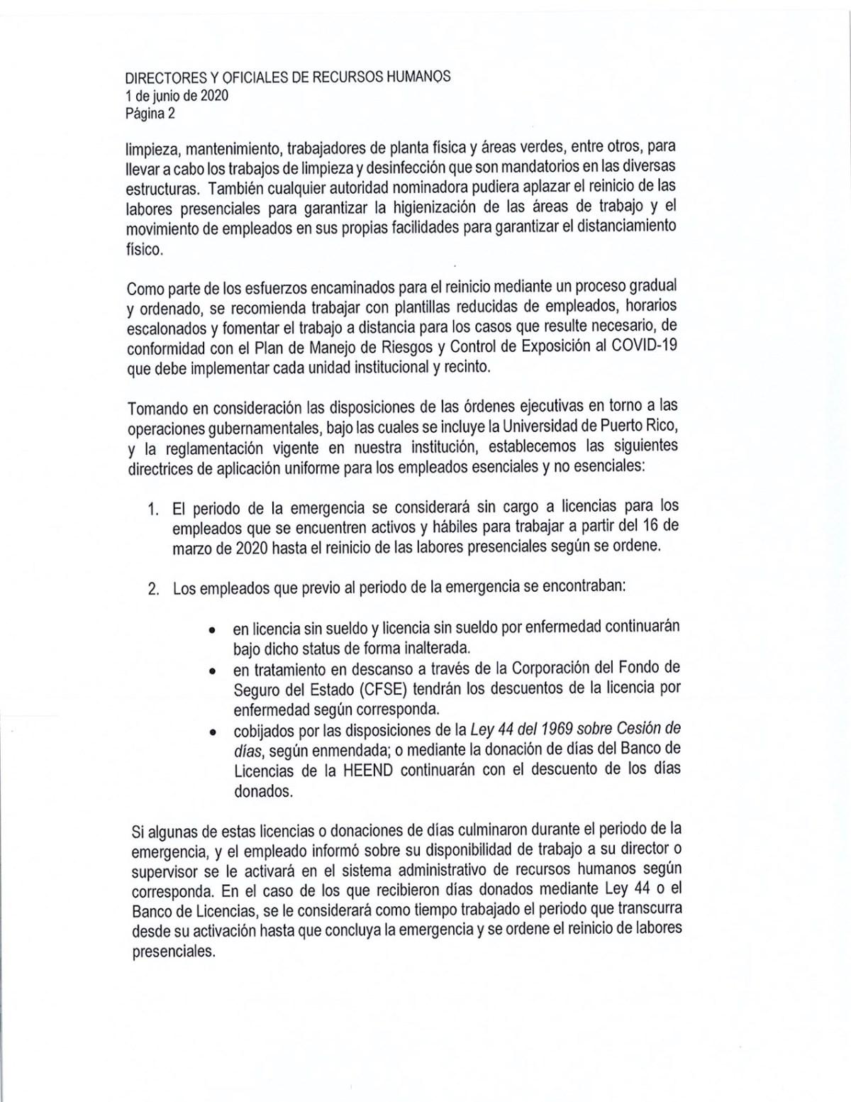 circular adm central reinicio labores presenciales UPR-2